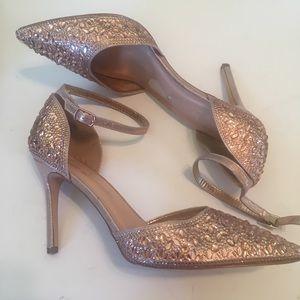 Lauren Lorraine Rose Gold jeweled Ankle Strap heel